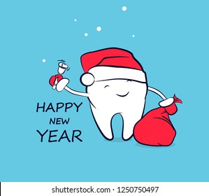Cute smiling cartoon tooth in Santa hat in red mittens with a bag of gifts and a bell. Vector concept of New Year and Christmas greeting for the dental clinic. Winter holidays in dentistry.