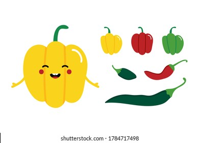 Cute smiling cartoon yellow bell pepper character with set, collection of colorful chili peppers.