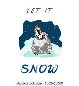 Cute smiling cartoonish emperor penguin chicks, boy and girl, in knitted hats, in snow, hugging in arctic field at night snowfall, and phrase Let It Snow, for season greetings, stationery, t shirt etc