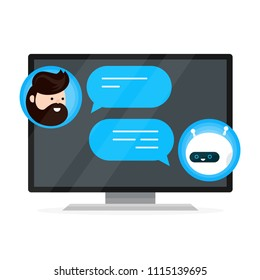Cute smiling chat bot is written off with a person man. Dialog on smart plasma tv,computer monitor. Vector flat modern style cartoon character illustration icon design. Isolated on white background.