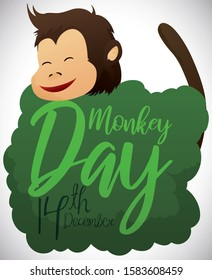 Cute, smiling chimp, behind a bush and ready to celebrate Monkey Day this 14th December.