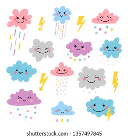 Cute Smiling Clouds with Rain Drops, Thunder and Lightning Icons Vector Set for Print or Poster for Kids Fashion, Nursery, Baby Shower Scandinavian Design.