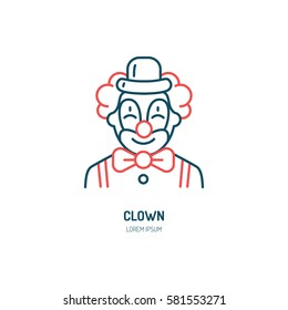 Cute smiling clown line icon. Vector logo for circus, party service or event agency. Linear illustration of kids birthday performance classic character.