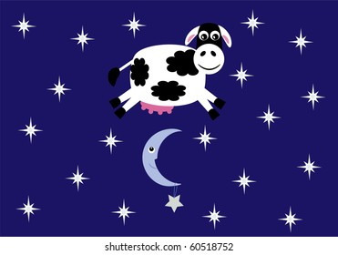 Cute smiling cow jumping over a crescent moon and star on a background of stars