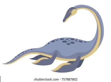 Cute smiling dinosaur Nessie form Loch Ness lake cartoon vector illustration, Loch Ness monster.