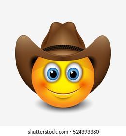Cute smiling emoticon wearing cowboy hat, emoji, smiley - vector illustration