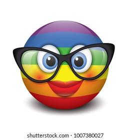 Cute smiling emoticon wearing eyeglasses, emoji, smiley - vector illustration