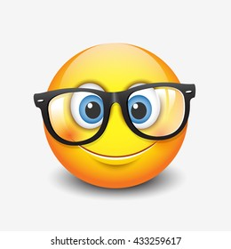 Cute smiling emoticon wearing eyeglasses, emoji, smiley - vector illustration