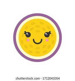 Cute smiling exotic passion fruit. Kawaii fruit character. Isolated colorful vector icon