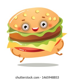Cute smiling fresh american burger is running away