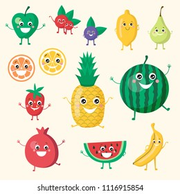 Cute smiling funny fruit vegan collection set. Isolated objects on white background. Apple, pineapple, berries, lemon, orange, strawberry, cherry, watermelon, banana fruits set.