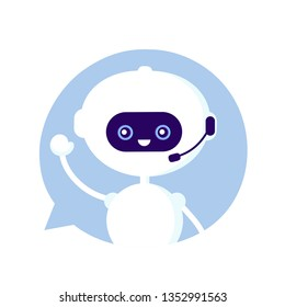 Cute smiling funny robot, chat bot in speech bubble. Vector modern flat cartoon character illustration.Isolated on white background.Voice support service chat bot,virtual online help customer support
