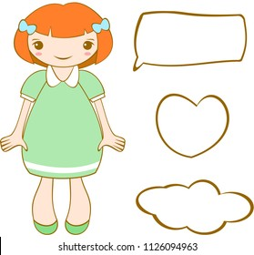 Cute smiling ginger girl with short hair. Vector.