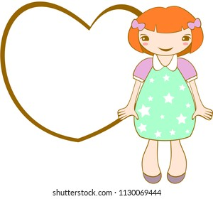 Cute smiling girl with frame. Vector.