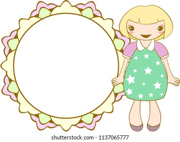 Cute smiling girl with round frame. Vector.