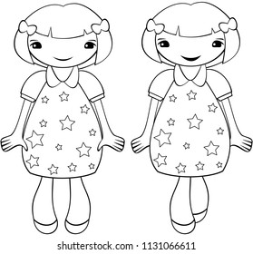 Cute smiling girl with short hair. Coloring. Vector.