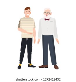 Cute smiling grandfather and grandson standing together. Funny happy elderly man and young guy talking to each other and laughing. Friendship between granddad and grandchild. Flat vector illustration.