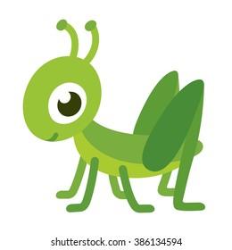 Cute smiling grasshopper, isolated cartoon vector illustration.