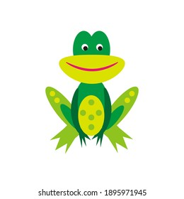 Cute smiling green frog isolated on white background. Flat vector illustration. Cartoon frog.