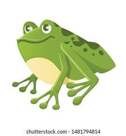Cute smiling green frog sitting on ground cartoon animal design flat vector illustration isolated on white background