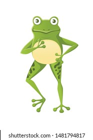 Cute smiling green frog standing on two legs cartoon animal design flat vector illustration isolated on white background