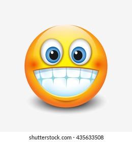 Cute smiling, grinning emoticon showing teeth, emoji, smiley - vector illustration
