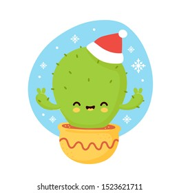 Cute smiling happy cactus in christmas hat and gloves. Vector flat cartoon character illustration. Christmas cactus character concept