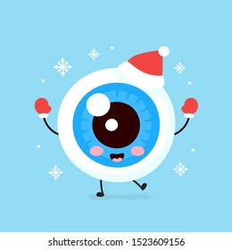 Cute smiling happy eyeball organ in christmas hat and gloves. Vector flat cartoon character illustration. Christmas eye character concept