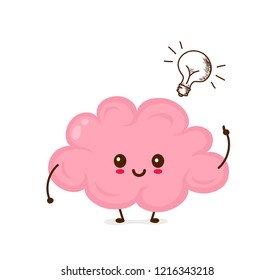 Cute smiling happy funny brain with burning idea light bulb.Vector flat cartoon character illustration icon kawaii desgin. Isolated on white background. Sketch style element. Brain have idea concept