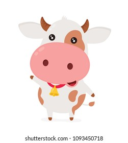 Cute smiling happy funny little cow.Vector flat cartoon character illustration icon desgin. Isolated on white background. Cow concept