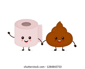 Cute smiling happy funny poop and toilet paper roll. Vector flat cartoon character illustration icon. Isolated on blue background. Poop shit,toilet paper,wc,bathroom concept