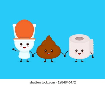Cute smiling happy funny poop,toilet paper and toilet bowl. Vector flat cartoon character illustration kawaii icon. Isolated on blue background. Poop shit,toilet bowl,wc,paper roll, bathroom concept