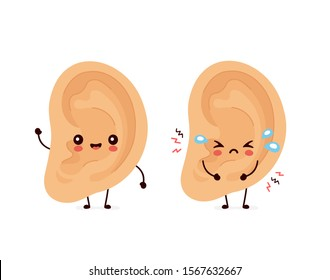 Cute smiling happy human and sad sick ear. Vector flat kids cartoon character illustration.Isolated on white background. Human ear character. Earache,otitis,tinnitus concept