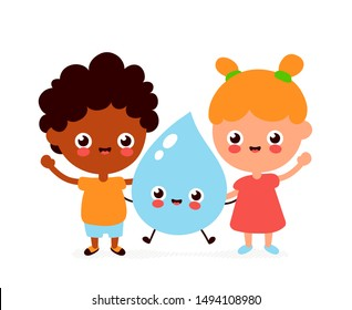 Cute smiling happy kids and water drop. Vector flat cartoon character illustration.Isolated on white background.Water drop,boy and girl character concept