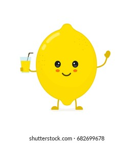 Cute smiling happy lemon with a glass of lemonade. Vector modern flat style cartoon character illustration. Isolated on white background