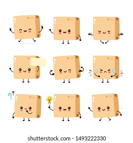 Cute smiling happy parcel,delivery box set collection. Vector flat cartoon character illustration.Isolated on white background.Delivery box character bundle concept
