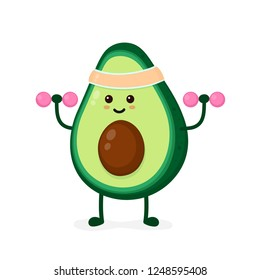 Cute smiling happy strong avocado make fitness gym with dumbbells.Vector cartoon character illustration kawaii icon. Isolated on white background.Avocado,gym,sport,health,fitness nutrition concept
