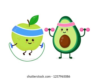 Cute smiling happy strong avocado make gym with dumbbells,apple jump with rope.Vector flat cartoon character illustration icon. Isolated on white background.Avocado,gym,fitness nutrition concept