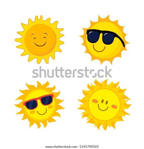 Cute Smiling Happy Sun Icon Logo Stock Vector (Royalty Free) 1145790503