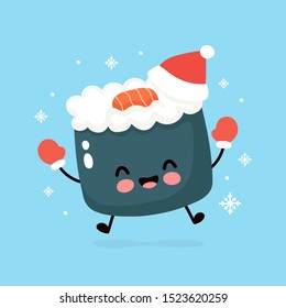 Cute smiling happy sushi in christmas hat and gloves. Vector flat cartoon character illustration. Christmas sushi character concept