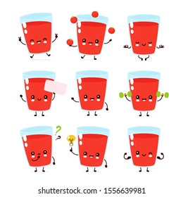 Cute smiling happy tomato juice glass set collection. Vector flat cartoon character illustration.Isolated on white background.Tomato glass mascot bundle character concept