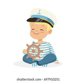 Cute smiling little boy character wearing a sailors costume sitting on the floor playing toy wooden ship wheel colorful vector Illustration