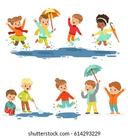 Cute smiling little kids playing on puddles, set for label design. Active leisure for children. Cartoon detailed colorful Illustrations