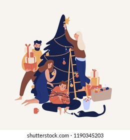 Cute smiling people decorating Christmas tree with baubles and garlands. Happy family or group of friends preparing for holiday celebration. Colorful vector illustration in flat cartoon style.