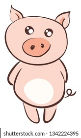 Cute smiling pink pig vector illustration on white background
