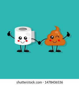 Cute smiling poop and toilet paper with Giving thumb Up. cartoon style. bathroom concept. illustration for kids