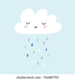 Cute smiling rain cloud with rain drops in shades of blue. Nursery art for boys. Card design for baby shower.