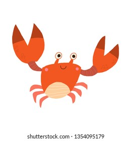 Cute smiling red crab. Nice crab image for kids. Sea animals collection. Cartoon vector hand drawn eps 10 childrens book illustration isolated on white background in a flat style