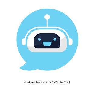 Cute smiling robot, chat bot. Modern line outline flat style cartoon character illustration. Isolated on white background.Speak bubble. Voice support, virtual online help support concept