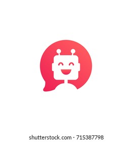 Cute smiling robot in red speech bubble. Chatbot icon in flat style on white background. Virtual online support concept. Support service bot. Vector illustration